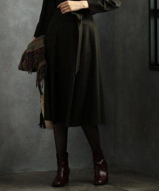 J.PRESS LADIES L 【洗える】ウールスムースジャージー スカート カーキ系