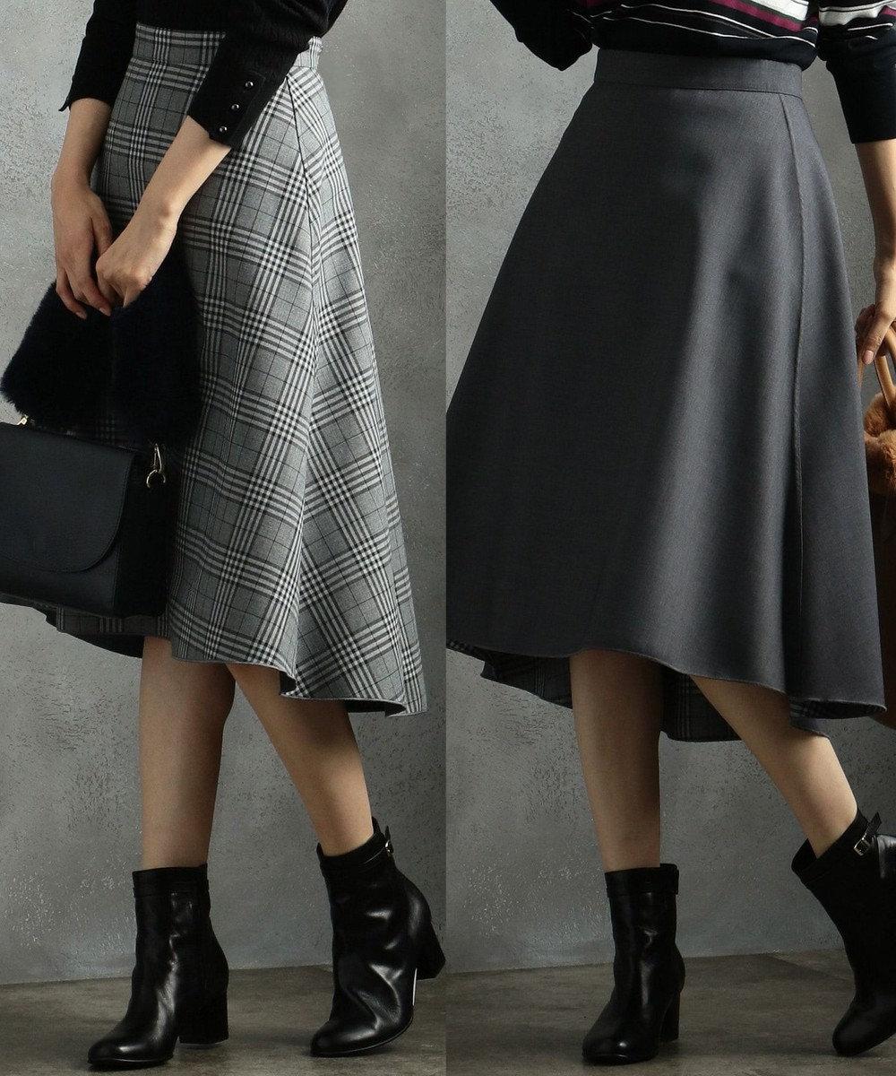 J.PRESS LADIES L 【リバーシブル】T/Rボンディング スカート グレー系3