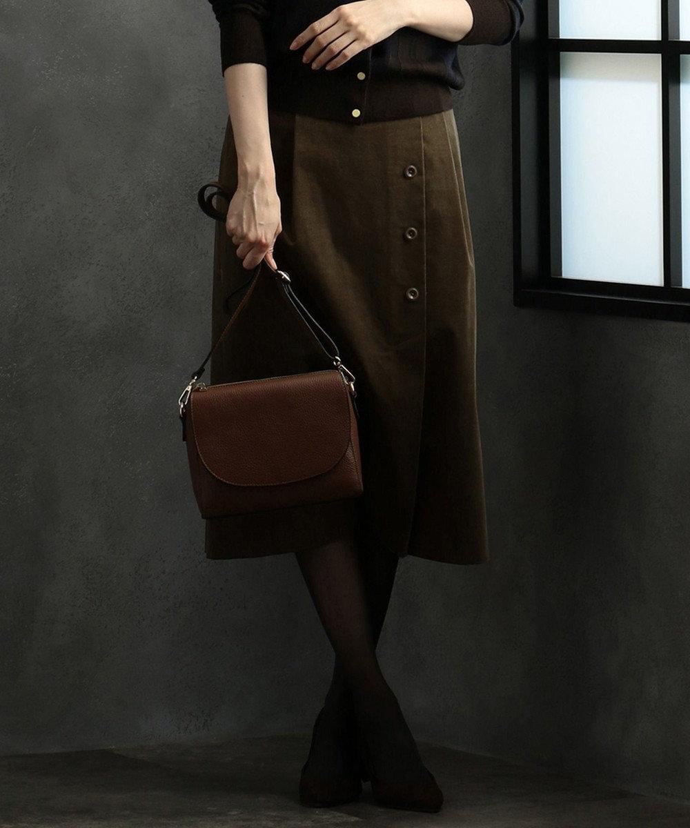 J.PRESS LADIES 【洗える】オルセンコール スカート ブラウン系