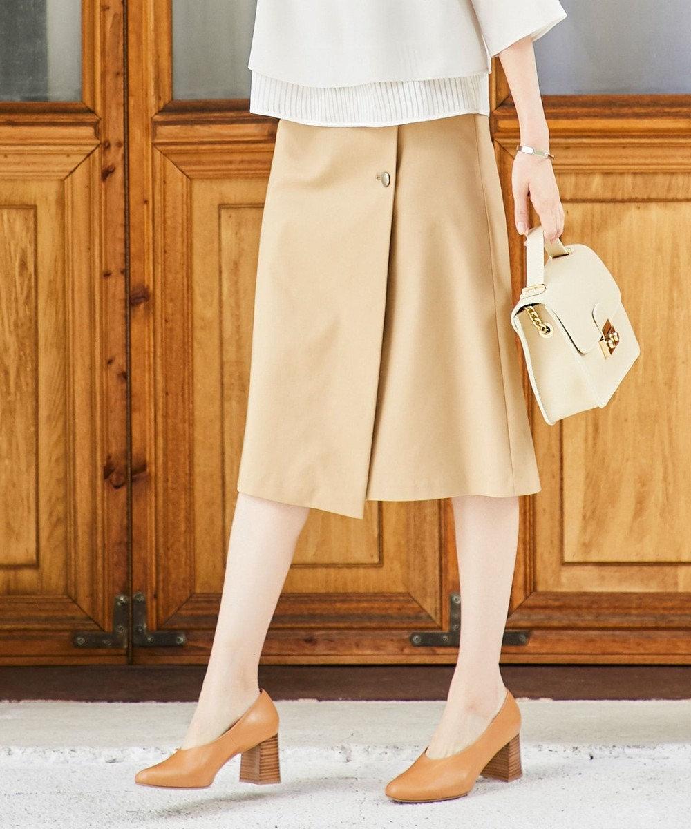 J.PRESS LADIES 【洗える】コットンナイロンWクロス 巻き風スカート キャメル系