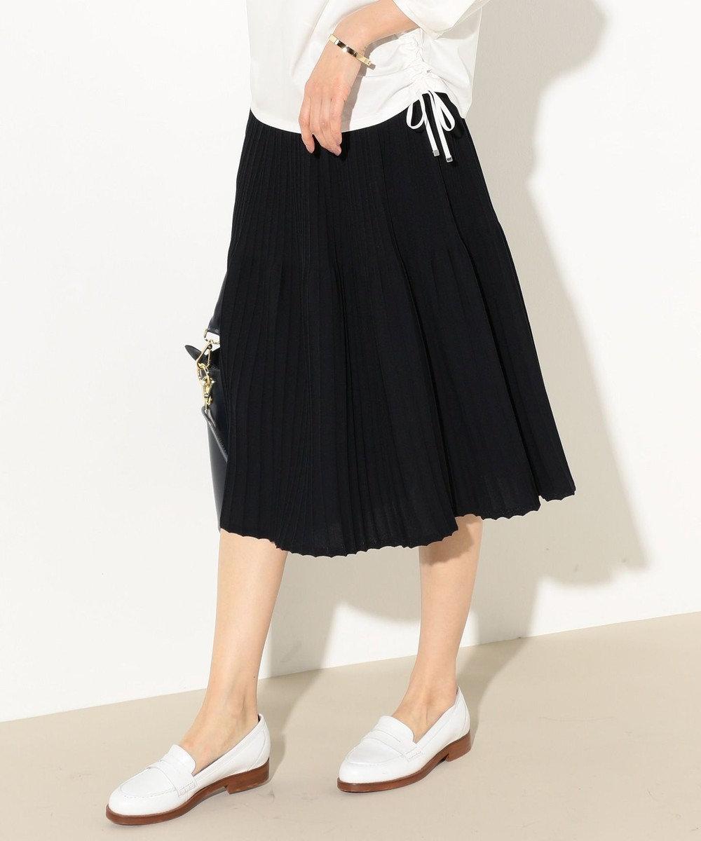 J.PRESS LADIES L 【洗える】プリーツデザインニット スカート ネイビー系