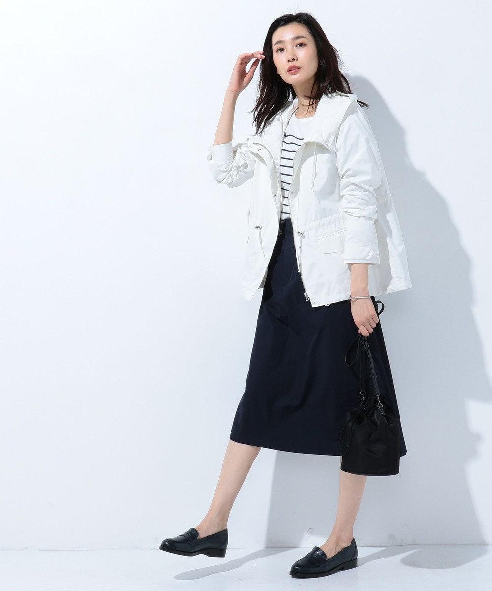 J.PRESS LADIES 【吸水速乾】T/Cリネンツイル スカート ネイビー系