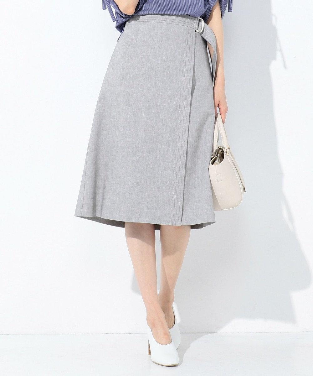 J.PRESS LADIES S 【スーツ対応】コットンリネンコンパクトピンヘッド スカート グレー系