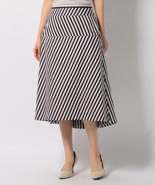 J.PRESS LADIES L 【洗える】コットンサテンストライプ スカート ダークブラウン系1