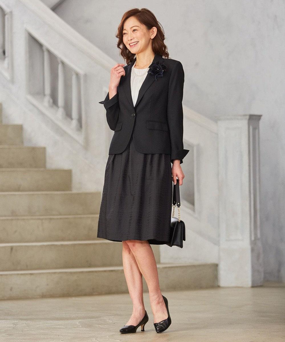 J.PRESS LADIES 【洗える!】ジオメトリックジャガード スカート ブラック系3