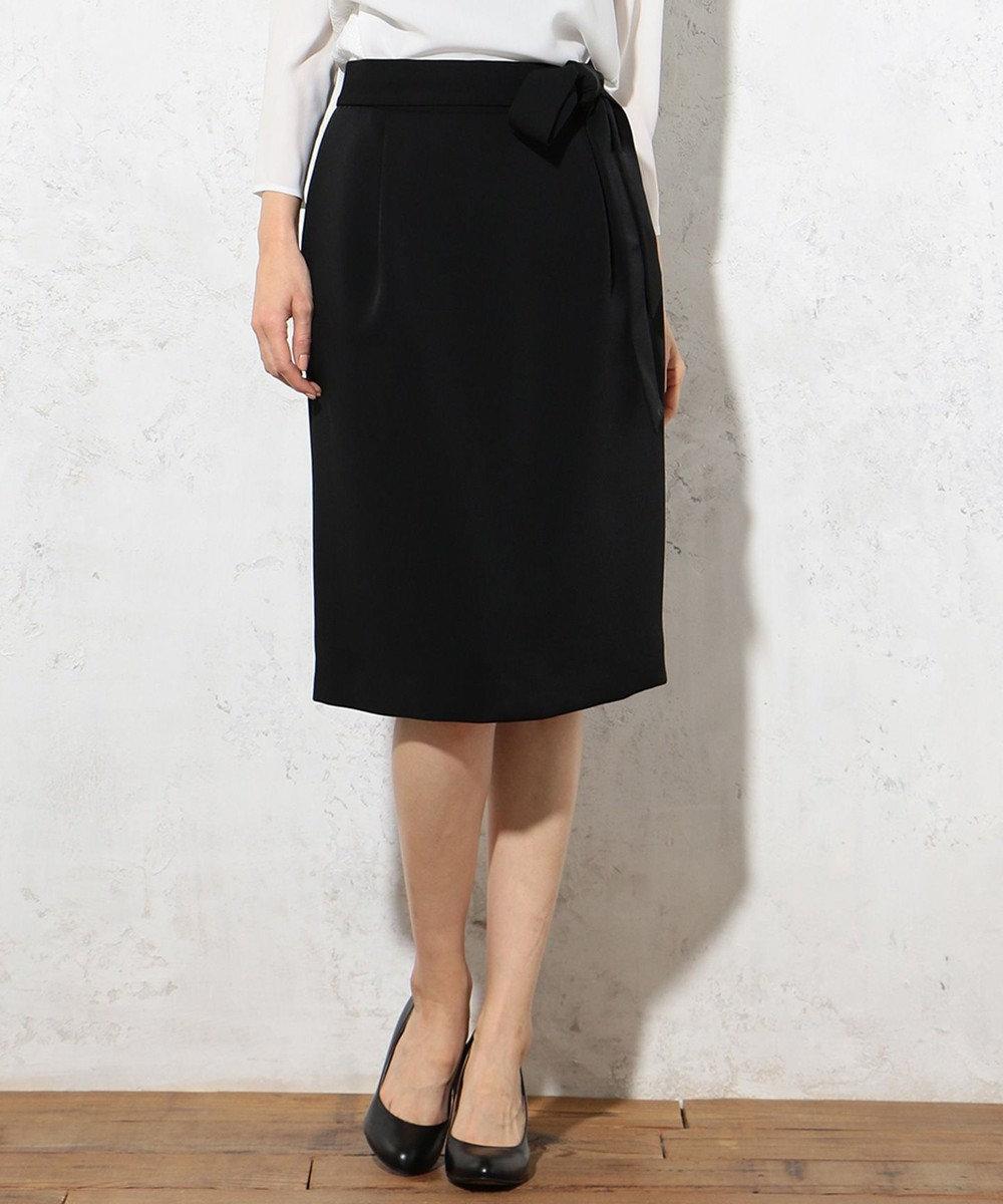 J.PRESS LADIES 【セットアップ対応】ヴィーナスダブルクロス 腰リボン付きスカート ブラック系