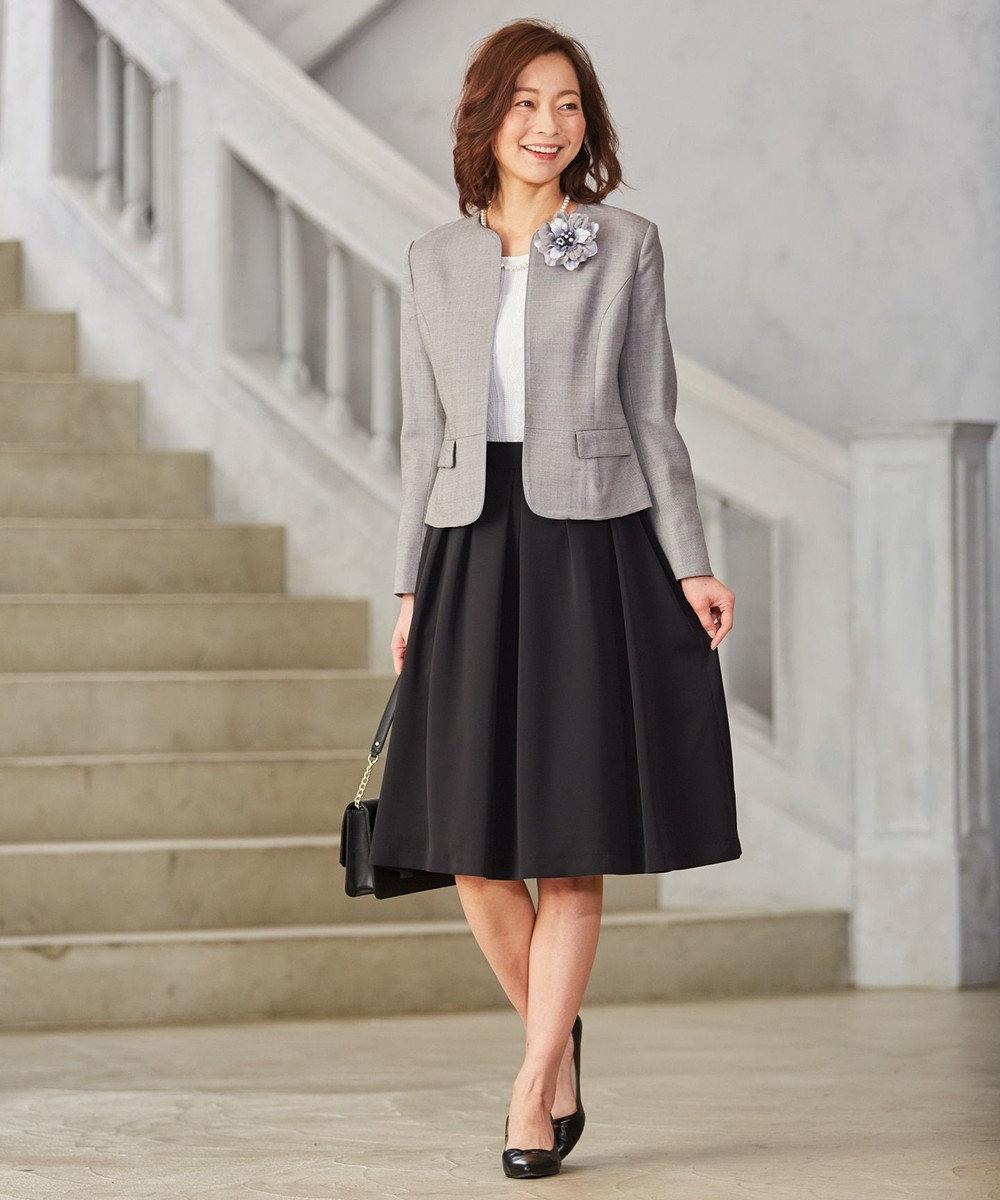 J.PRESS LADIES パウダリーポリエステル 腰リボン付きスカート ブラック系