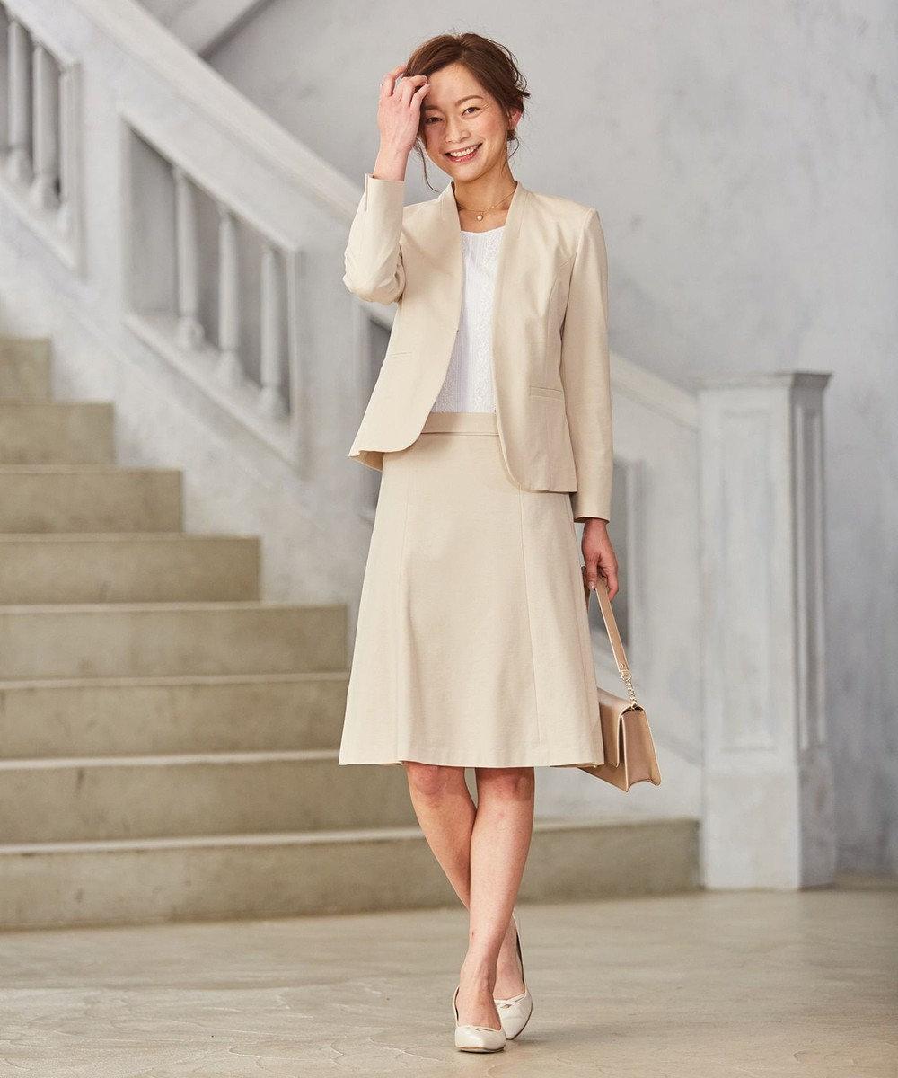 J.PRESS LADIES S 【セットアップ対応】アルファクロスジャージ スカート ベージュ系