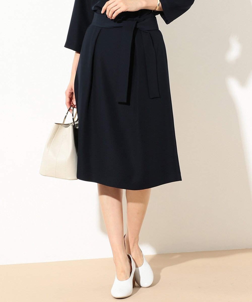 J.PRESS LADIES L 【セットアップ対応】コンフォートツイル ウエストリボンスカート ネイビー系