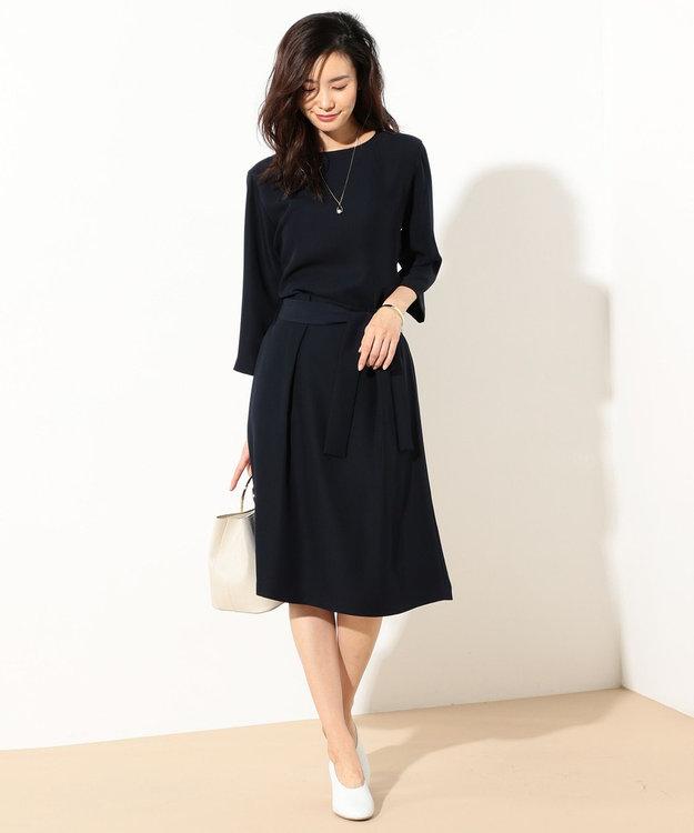 J.PRESS LADIES L 【セットアップ対応】コンフォートツイル ウエストリボンスカート