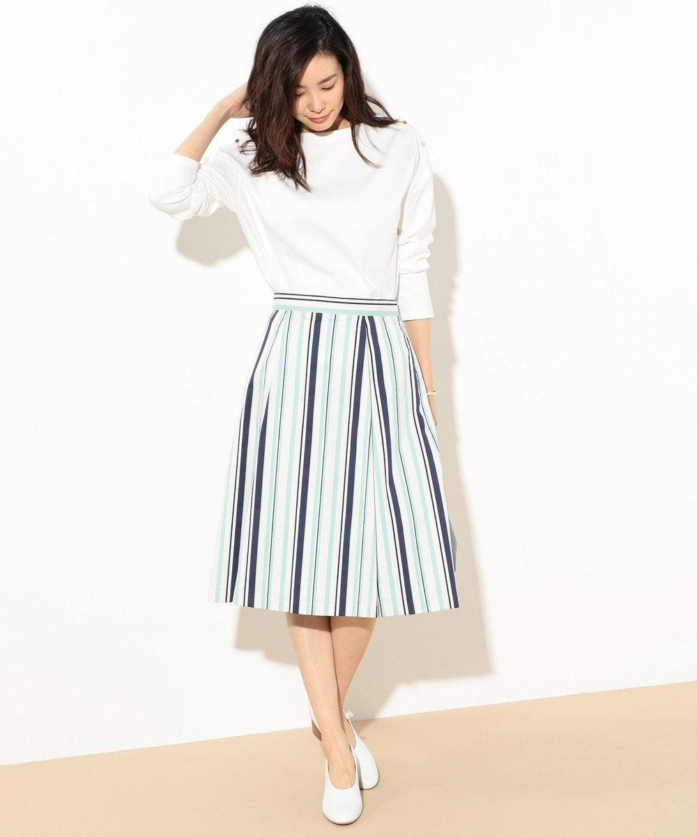 J.PRESS LADIES L 【洗える】リングボーダー タックフレアスカート ライトグリーン系1