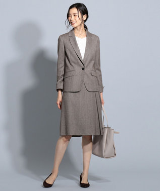 J.PRESS LADIES S 【スーツ対応】ウールストレッチヘリンボーン スカート ダークブラウン系7