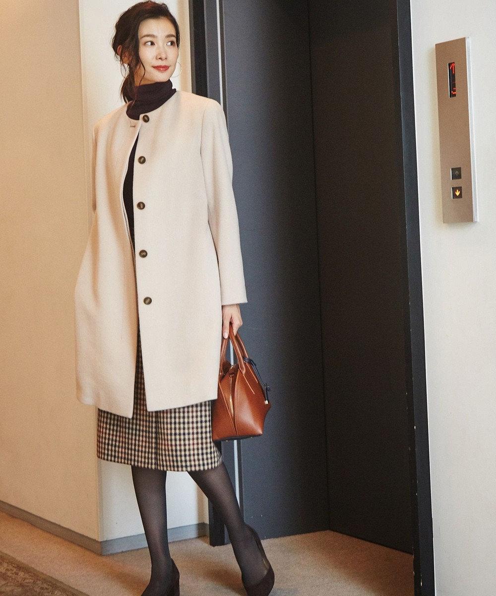 J.PRESS LADIES L 3/3綾ガンクラブチェック スカート ダークブラウン系3