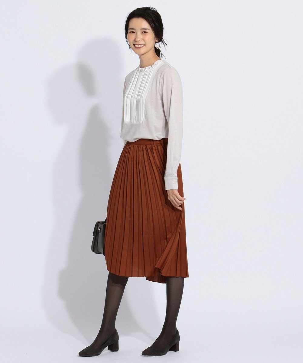 J.PRESS LADIES T/Wアムンゼン プリーツスカート ブラウン系