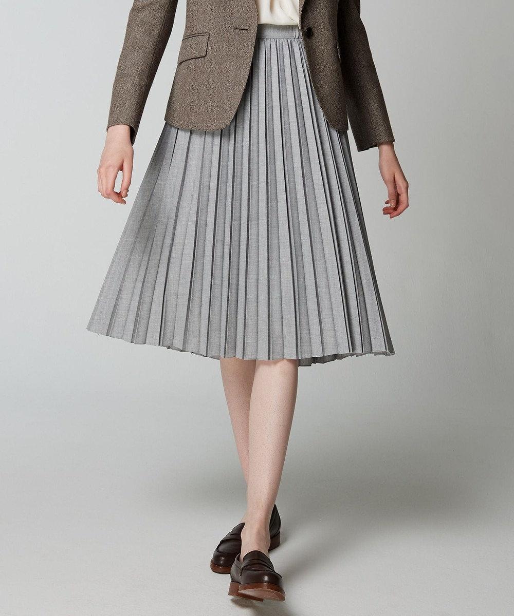 J.PRESS LADIES T/Wアムンゼン プリーツスカート ライトグレー系