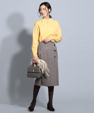 J.PRESS LADIES ワイドヘリンボン スカート ブラウン系7