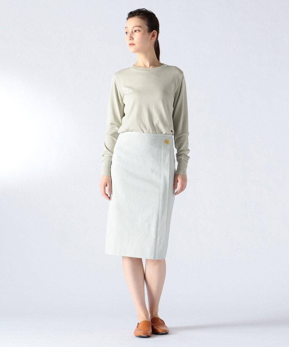 JOSEPH 【FIGARO5月号掲載】FINE / コットンシルクストライプ スカート サックスブルー系1
