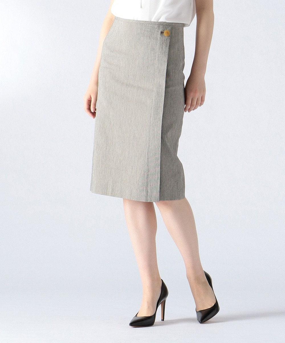 JOSEPH 【FIGARO5月号掲載】FINE / コットンシルクストライプ スカート ネイビー系1