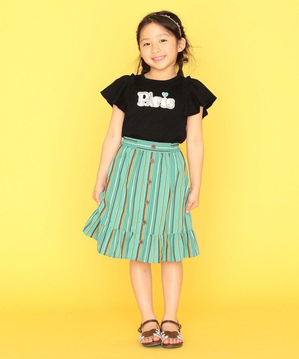 組曲 KIDS 【110-140cm】マルチストライプスカート グリーン系1
