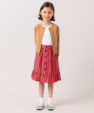 組曲 KIDS 【110-140cm】マルチストライプスカート レッド系1
