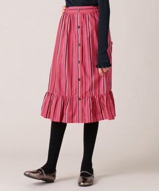 組曲 KIDS 【150-160cm】マルチストライプスカート レッド系1