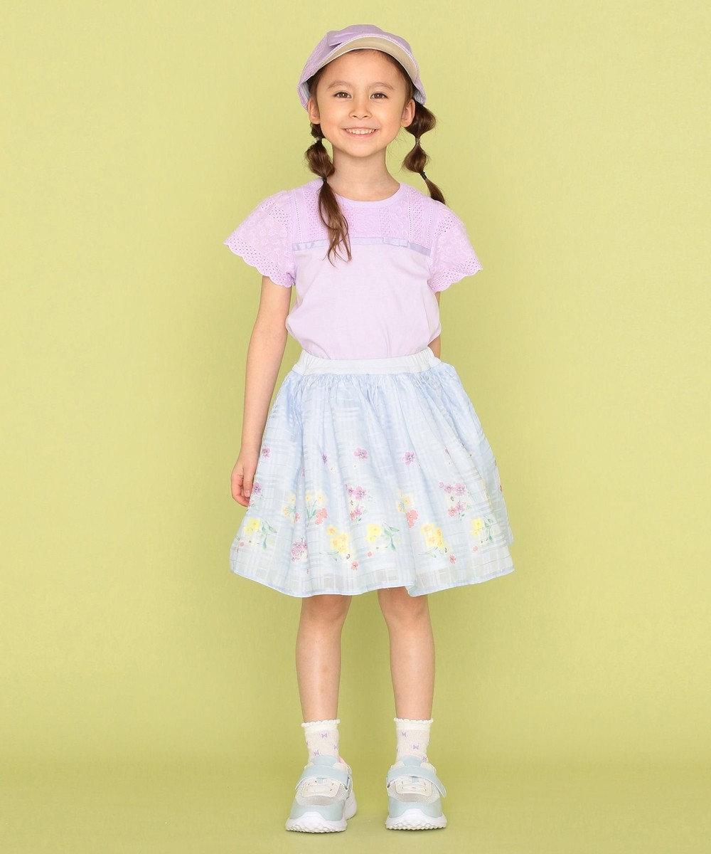 組曲 KIDS 【110-140cm】シアーパネルフラワー スカート サックスブルー系5