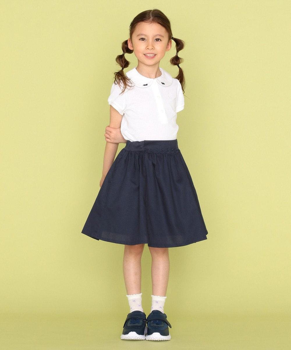 組曲 KIDS 【110-140cm】ピケギャザー スカート ネイビー系