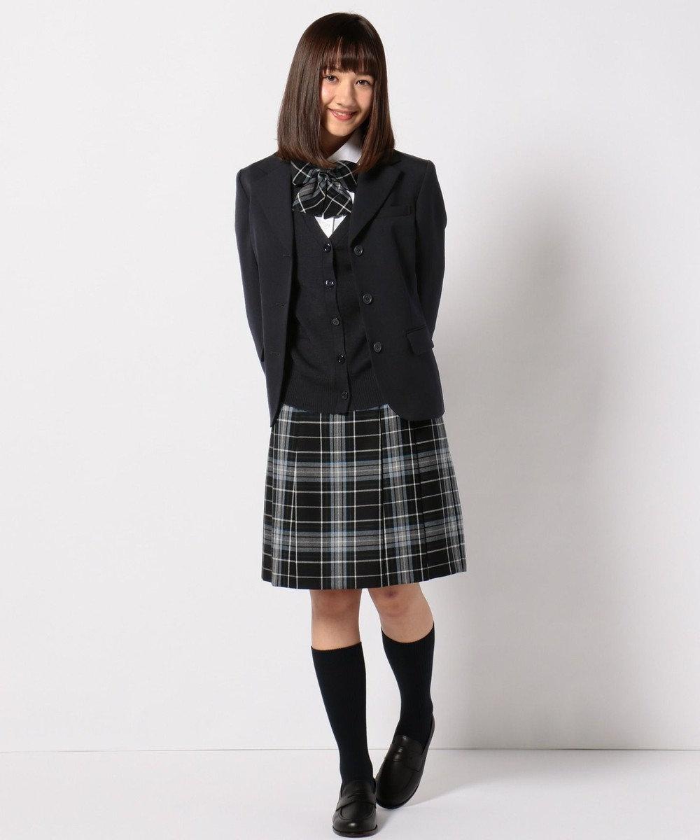 組曲 KIDS 【PURETE】ウール綾チェック スカート (リボン付き) ネイビー系3