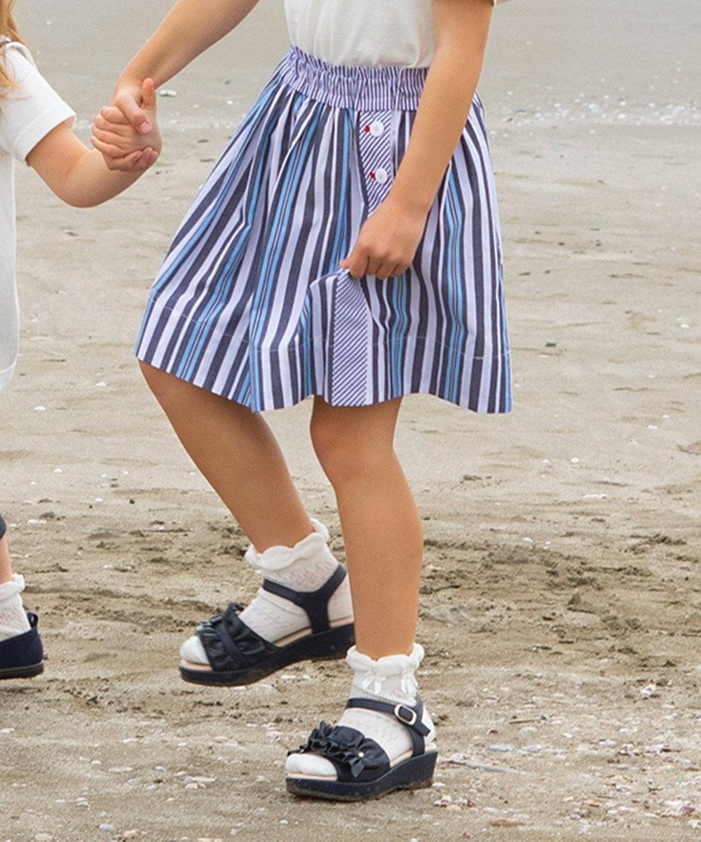 組曲 KIDS 【110~140cm】ブロッキングストライプ スカート ネイビー系2