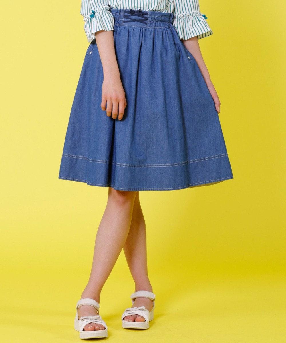 組曲 KIDS 【SCHOOL】レースアップデニム スカート ブルー系