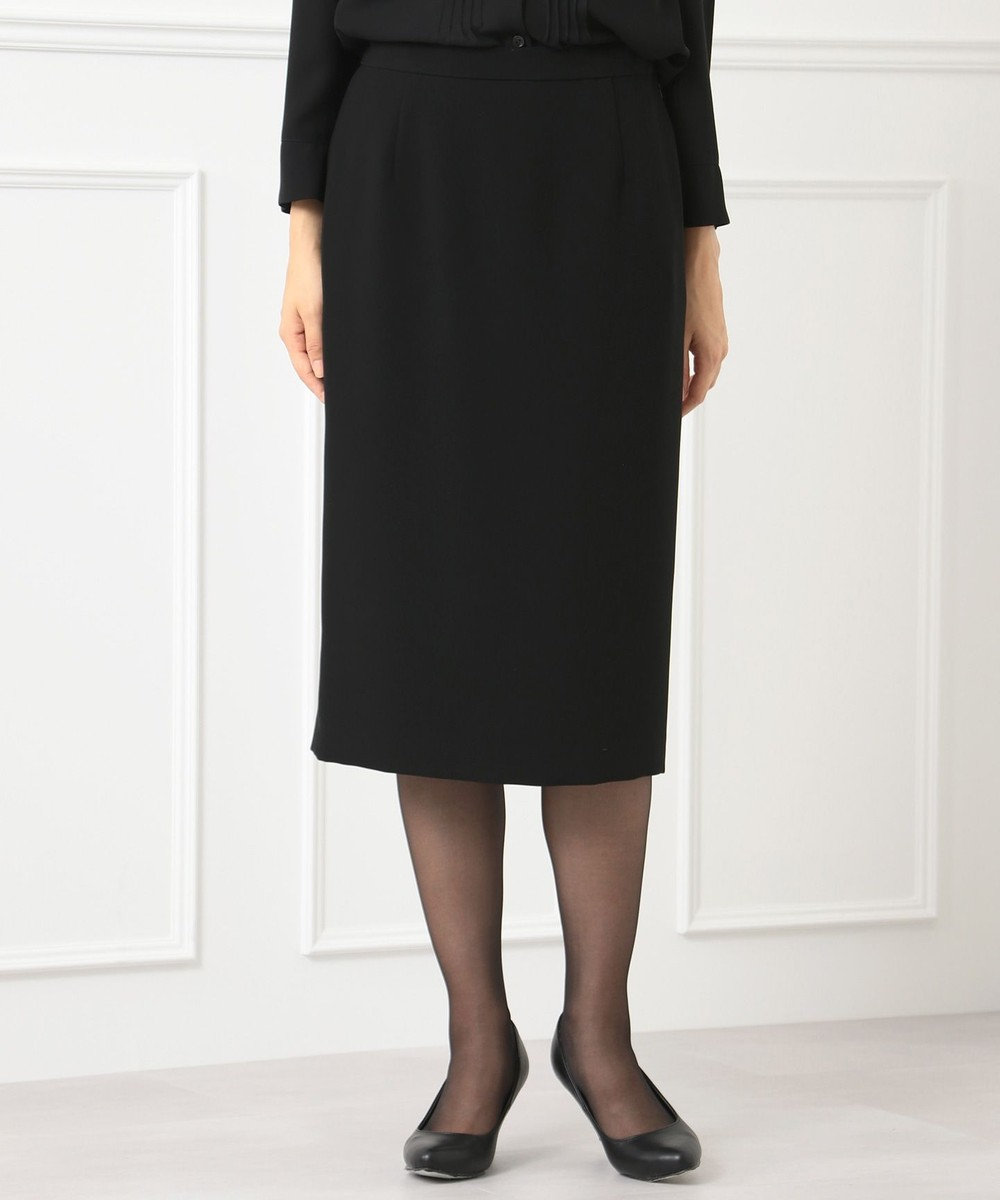 自由区 FORMAL 【楽々な着心地】NOIE15平二重 スカート ブラック系