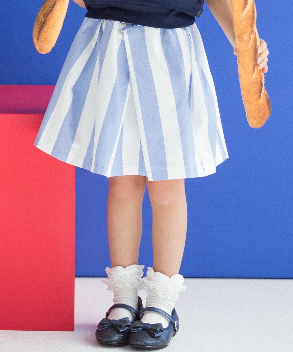 組曲 KIDS 【TODDLER】ワイドストライプ スカート スカイブルー系1