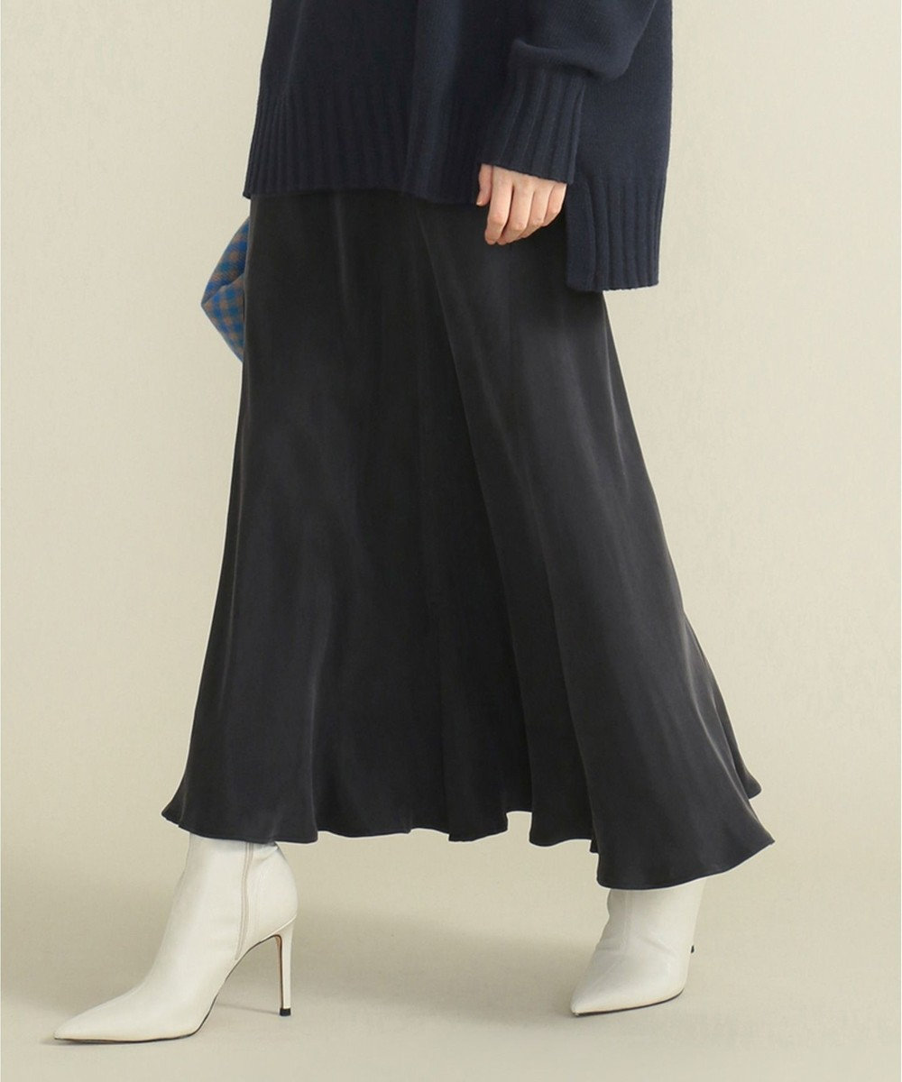 SHARE PARK LADIES フィブリルギャザーフレアスカート ブラック系
