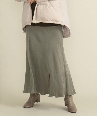 SHARE PARK LADIES フィブリルギャザーフレアスカート カーキ系