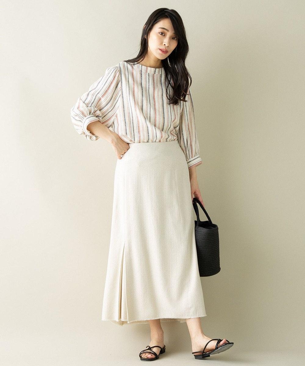 SHARE PARK LADIES 【洗える】リネン混ヘリンボーンマーメイドスカート アイボリー系