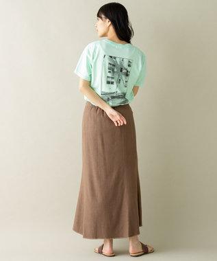SHARE PARK LADIES 【洗える】リネン混ヘリンボーンマーメイドスカート ダークブラウン系