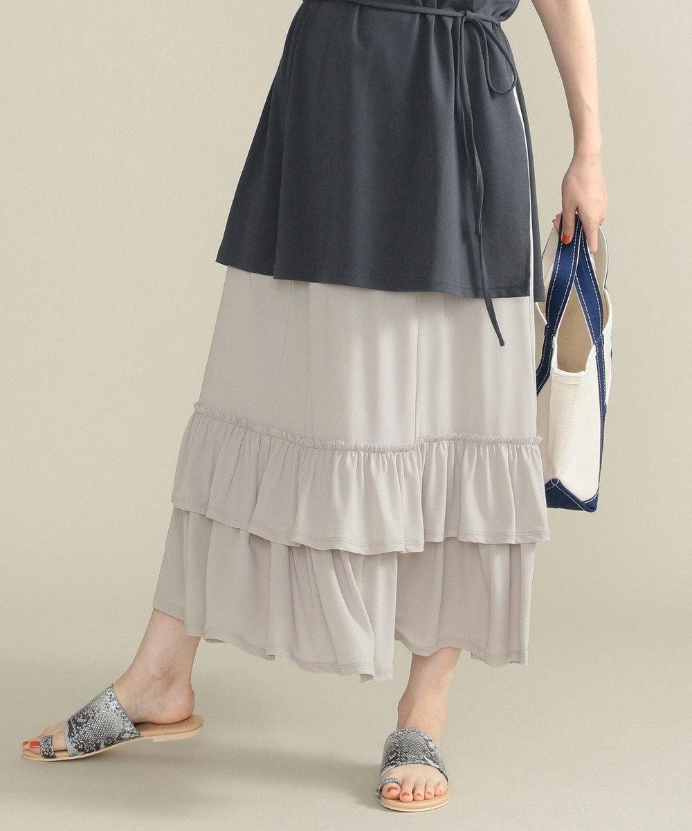 SHARE PARK LADIES 【洗える】天竺ティアード スカート ライトグレー系