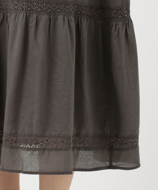 SHARE PARK LADIES 【洗える】レースコンビギャザー スカート グレー系