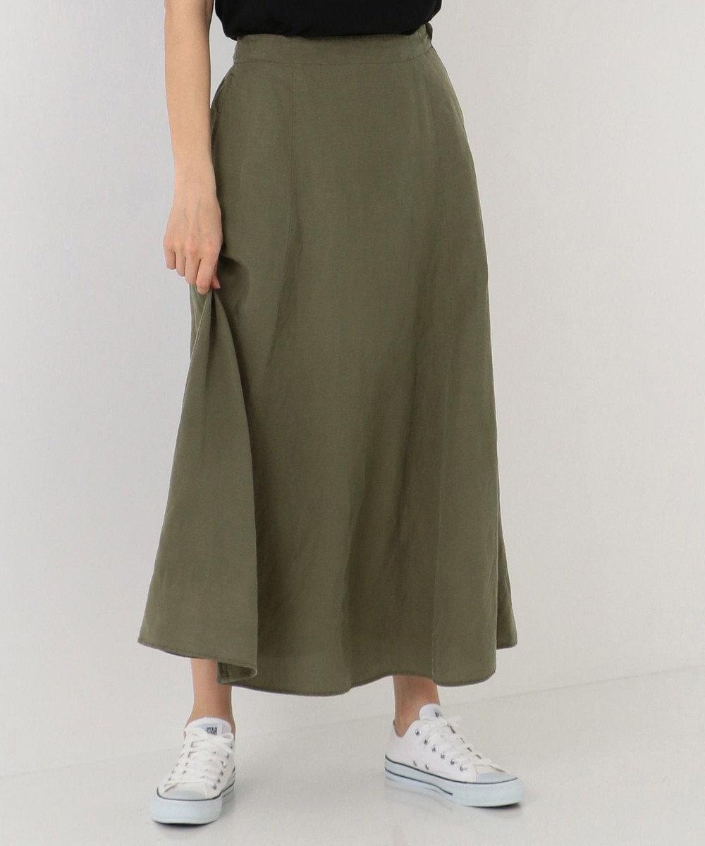 SHARE PARK LADIES テンセルリネンAラインロング スカート カーキ系