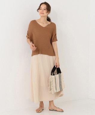 SHARE PARK LADIES テンセルリネンAラインロング スカート ベージュ系