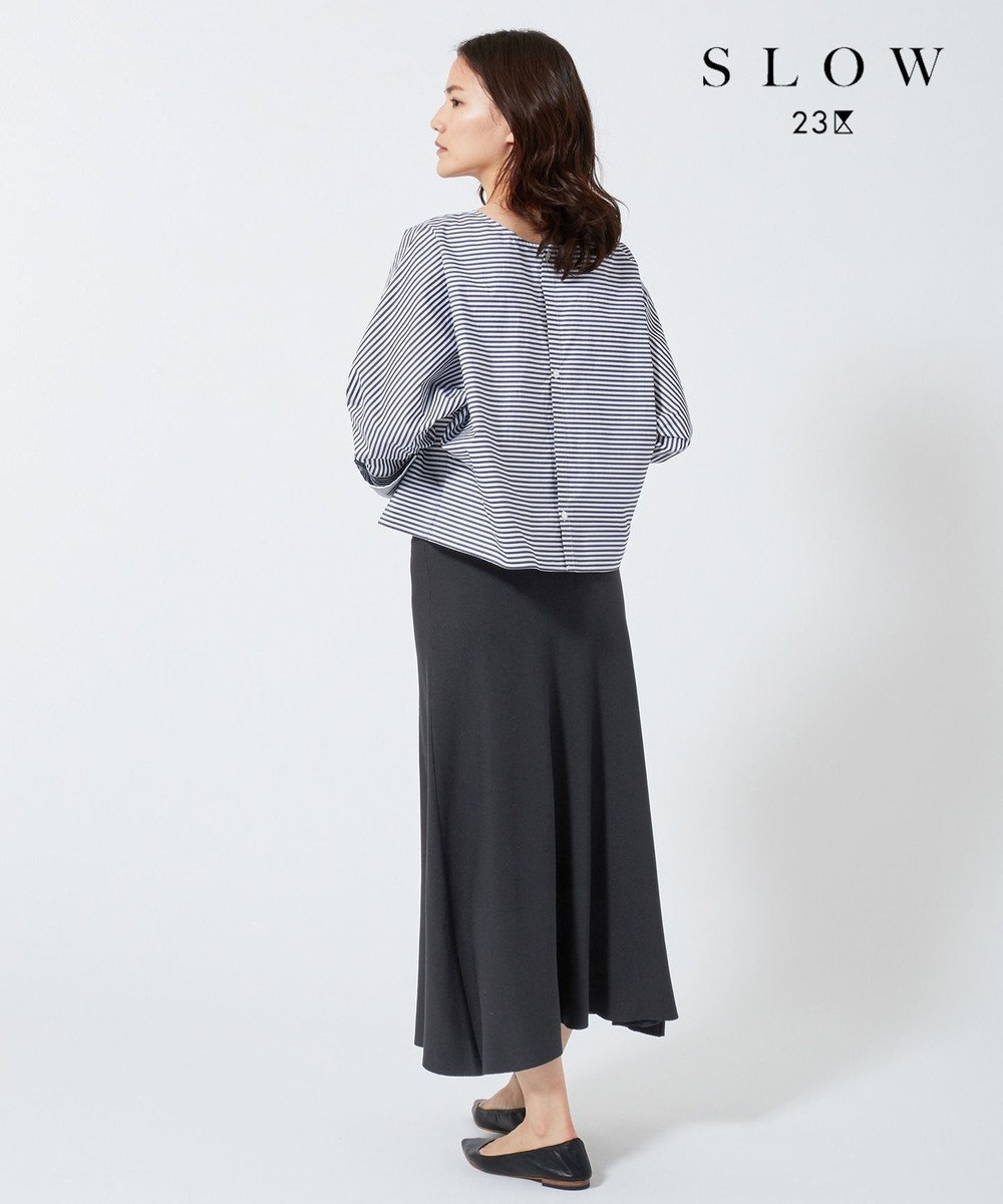 23区 【SLOW】クレープ ニットフレアスカート ネイビー系
