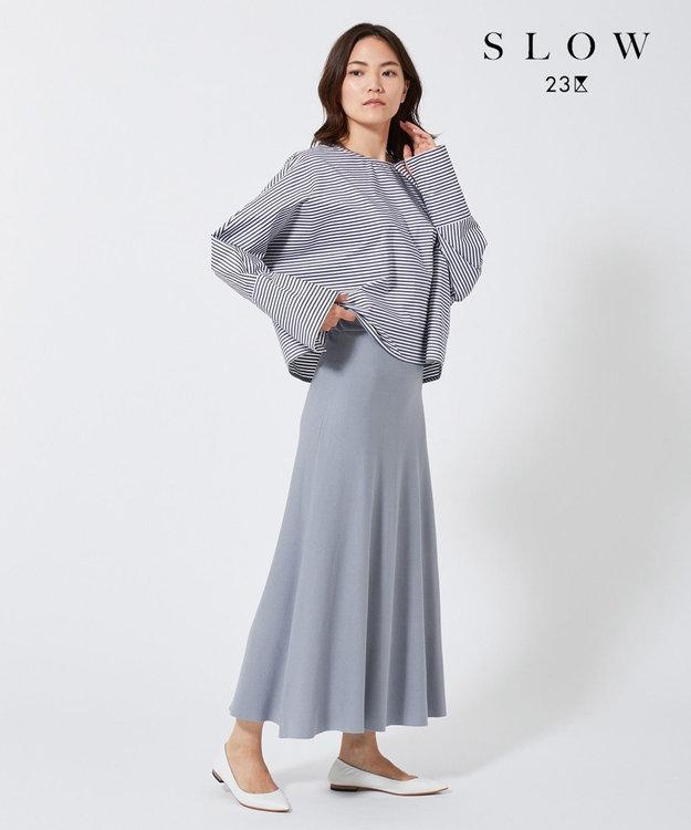 23区 【SLOW】クレープ ニットフレアスカート サックスブルー系