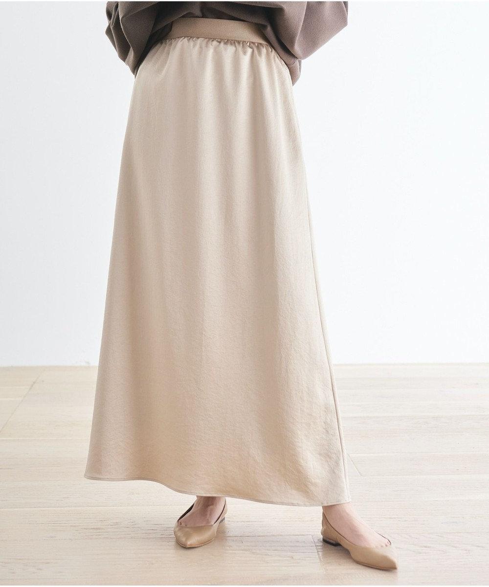 #Newans 【マガジン掲載】洗える/ ストレッチサテンスカート(番号NF23) ベージュ系