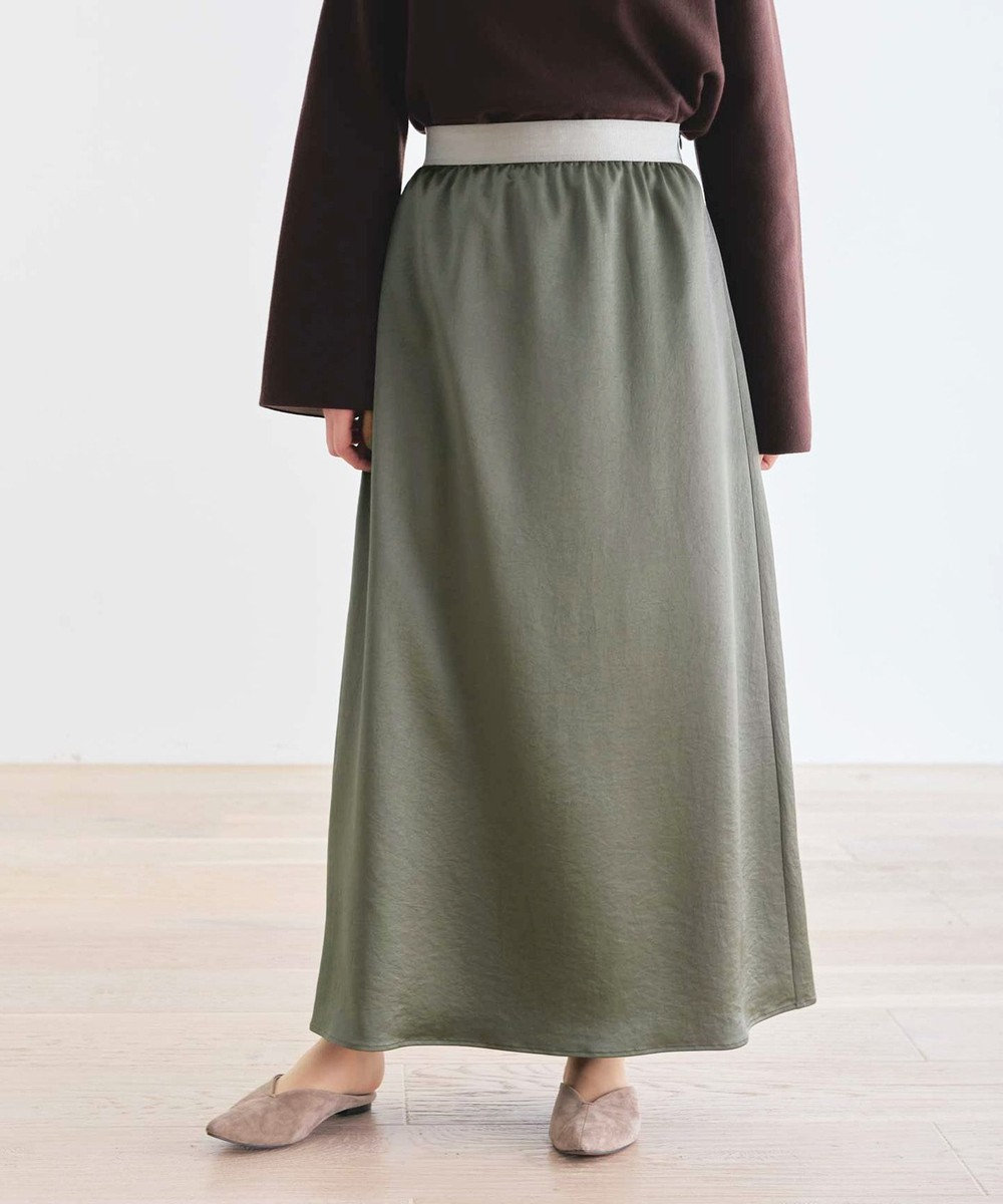 #Newans 【マガジン掲載】洗える/ ストレッチサテンスカート(番号NF23) カーキ系