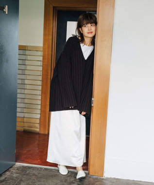 #Newans 【マガジン掲載】洗える/ ストレッチサテンスカート(番号NF23) エクリュ系
