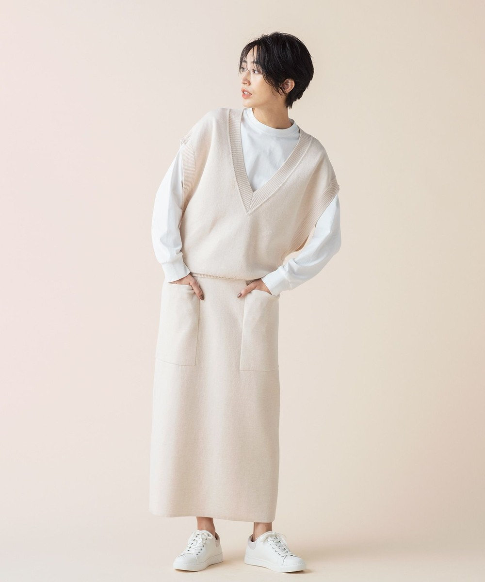 #Newans 【マガジン掲載】洗える/ ダブルフェイスニットスカート(番号NE95) アイボリー系