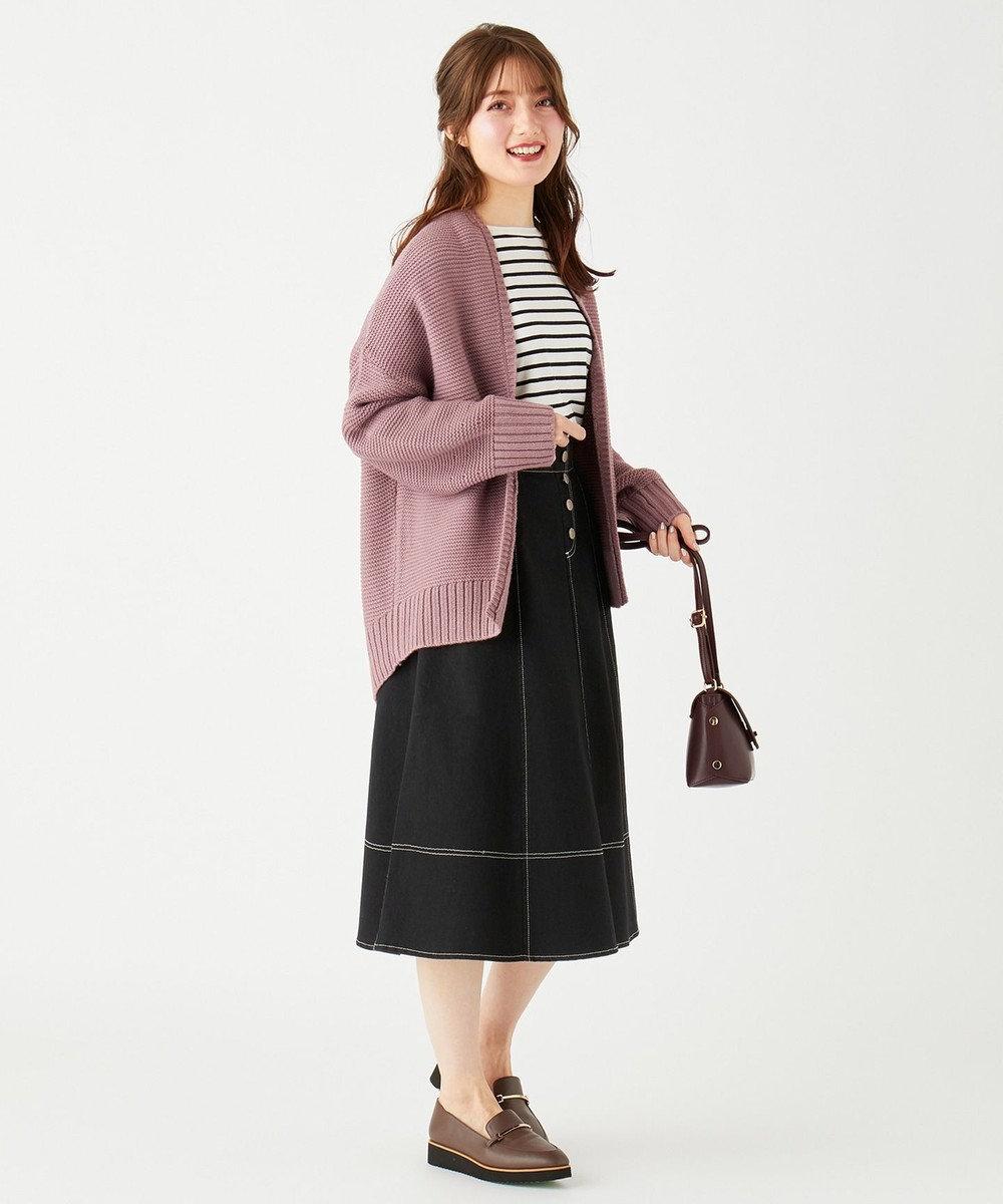 Feroux 【洗える】オータムストレッチデニム スカート ブラック系