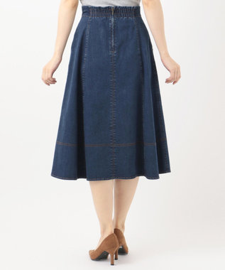 Feroux 【洗える】オータムストレッチデニム スカート ダルブルー系