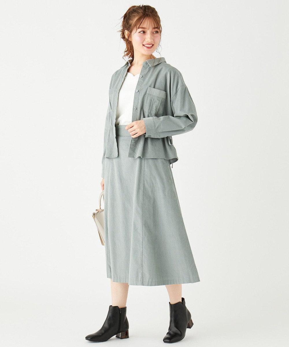 Feroux 【洗える】エアリーコットンコーデュロイ スカート ライトグリーン系