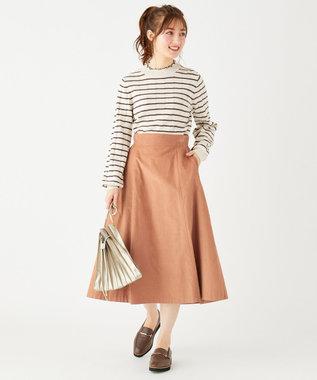 Feroux 【洗える】エアリーコットンコーデュロイ スカート オレンジ系